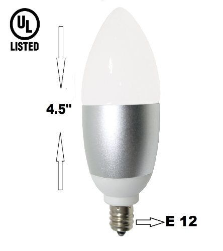 6 Watt, Led Candelabra E12 Base Light Bulb (60W Incandescent Replacement), Omni Directional, 530 Lumens, Warm White 2700K, Chandelier Torpedo Shape, Frosted Glass Cover, Silver Base -Ul Listed-