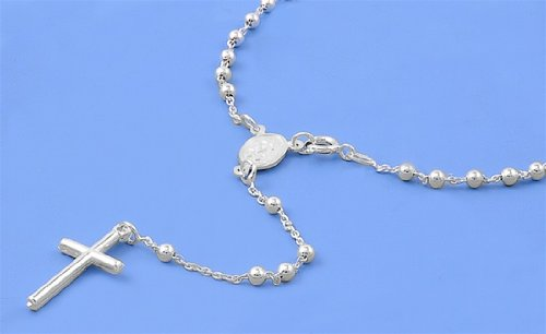 4Mm Catholic Italian Sterling Silver Rosary 22Mm Cross (20In) Length