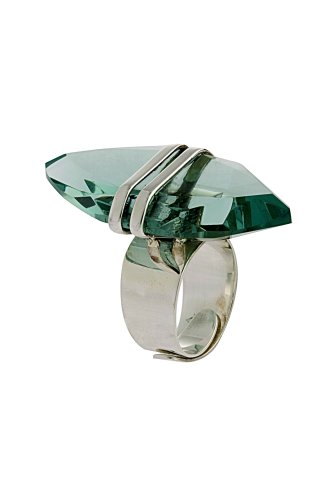 Large Crystal Drop Ring From the Crystal Collection Designed By Mauricio Serrano For Basic Jewelry
