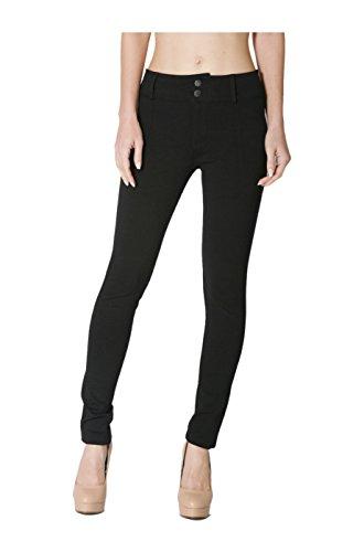 2LUV Women's Mid Rise Skinny Ponte Dress Pants Black S (P9723)