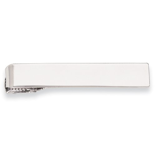 Rhodium-plated Polished Tie Bar