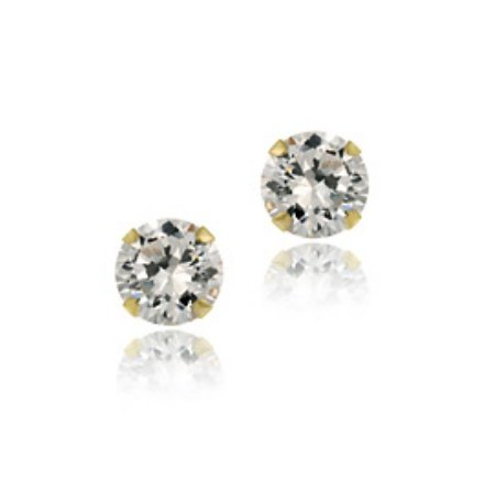 14k Gold 5mm Round CZ Stud Earrings