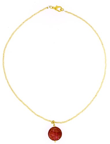 Amanti Venezia Murano Gold Plated Dusky Pink Pendant with Gold Conterie Beads of 44cm