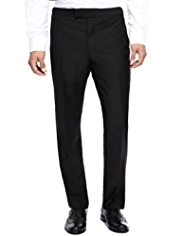 Autograph Wool Rich Flat Front Trousers with Cashmere