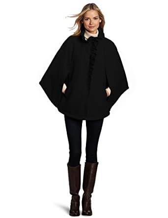 Larry Levine Women's Ruffle Trim Cape Coat, Black, Small