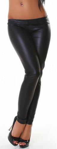 Jela London Damen Gogo Leggings lang in Leder-Optik