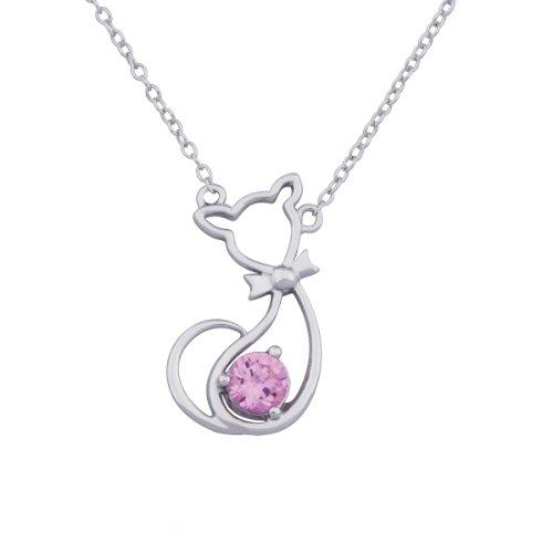 Sterling Silver Pink Cubic Zirconia Open Feline Necklace, 17