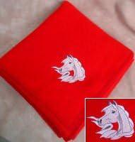 Arabian Horse Red Fleece Throw Blanket in the Corner Red