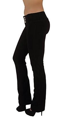 3018 - Brazilian Style Butt Lift, Levanta Cola, Fashion Moleton, Boot Leg, in Black Size XS