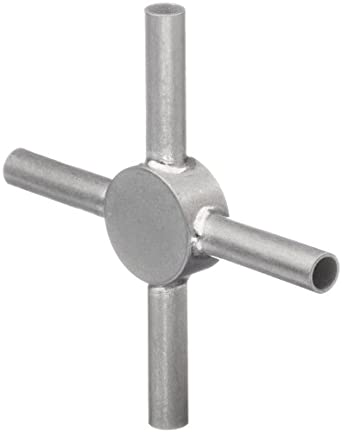 "STC-16/4 Stainless Steel Hypodermic Tube Fitting, Cross, 16 Gauge, 0.65"" Tube OD, 0.047"" Tube ID, 1/2"" Dia Circular Connector, 1"" Tube Length"