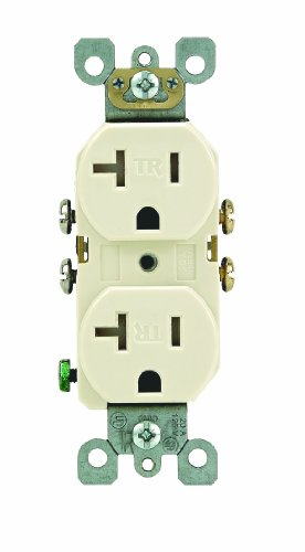 Leviton T5820-T 20 Amp 125 Volt, Duplex Receptacle, Straight Blade, Residential Grade, Self Grounding, Light Almond