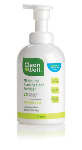 Cleanwell All-natural Foaming Hand Sanitizer, Original Scent, 8-Ounce (Pack of 3)