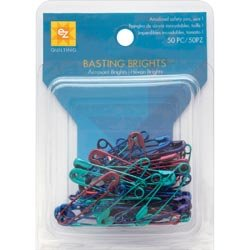 Wrights Basting Brights Safety Pins Size 1 50/Pkg 670160; 6 Items/Order