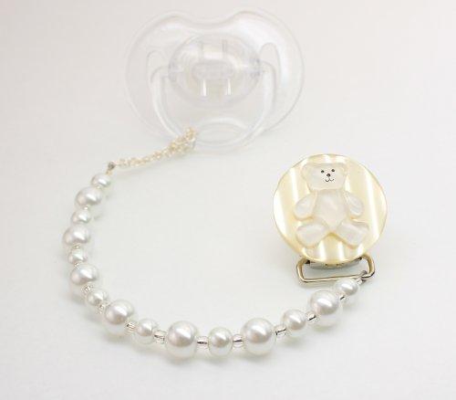 Baby White Teddy Bear Pacifier Clip