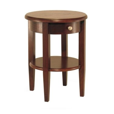 Image of Concord Round End Table with Drawer and Shelf in Antique Walnut by Winsome Wood (B004H8ZLKU)