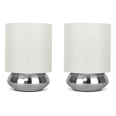 Pair Of - Modern Chrome Touch Table Lamps With Fabric Shades