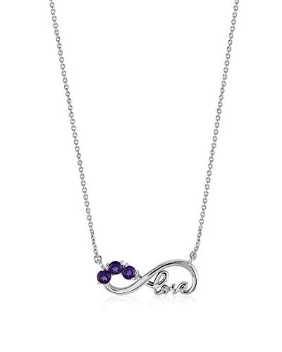 Divas Diamond Collana Amethyst Infinity Love Necklace argento 925