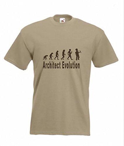 Evolution-Maglietta a da architetto Funny T-shirt, taglie dalla S alla 2XXL Marrone marrone chiaro