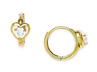 14ct Yellow Gold CZ Heart Hinged Earrings - Measures 10x13mm