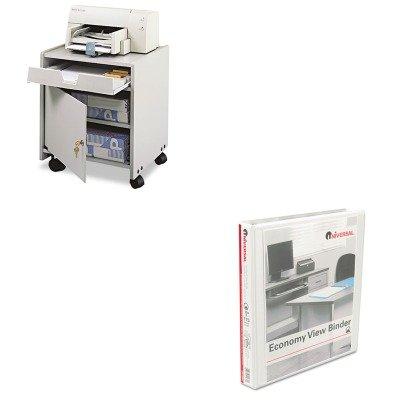 Kitsaf1854Grunv20962 - Value Kit - Safco Office Machine Mobile Floor Stand (Saf1854Gr) And Universal Round Ring Economy Vinyl View Binder (Unv20962) front-1028470