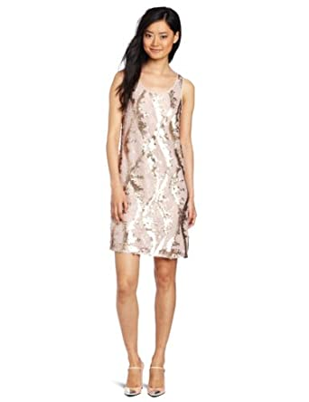 D.E.P.T. Women's Sequin Lace Dress, Pearl Blush, Medium