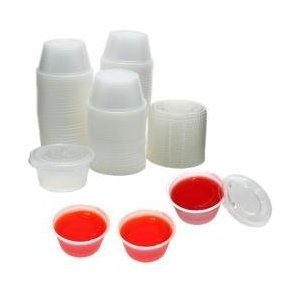2 oz Plastic Jello Shot Cups with Lids- 125ct