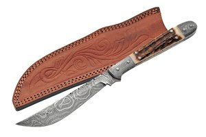 Damascus Navaja Hunter Fixed Knife