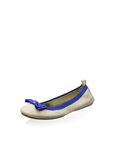 Yosi Samra Women's Samara Linen Flat with Bow  [Linen/Electic Blue]