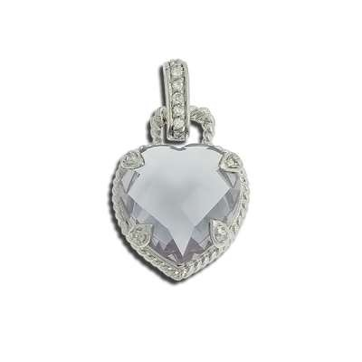 Beautiful Necklace Pendant Jewelry Sterling Silver Plated with Large Lavender Charm CZ Heart Shaped(WoW !With Purchase Over $50 Receive A Marcrame Bracelet Free)