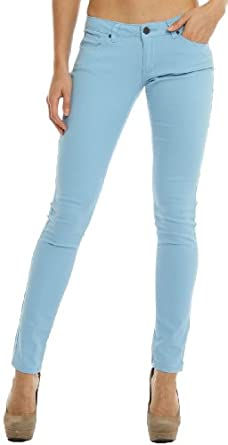 Hey Collection Women's Brushed Stretch Twill Skinny Jeans M Dusk Blue