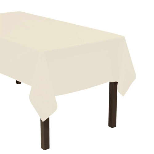 "Party Essentials Heavy Duty Plastic Table Cover, 54 x 108"", Ivory"