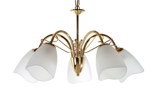 Turin Ceiling Fitting in polished brass finish complete with opal glass shades. Duel purpose for use with chain or as flush  mounted.