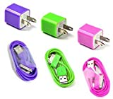 Bluecell Hot Pink/Purple/Green Wall Ac Charger & 3FT USB Sync Data Cable for iPhone 4 4s 3g/s iPod