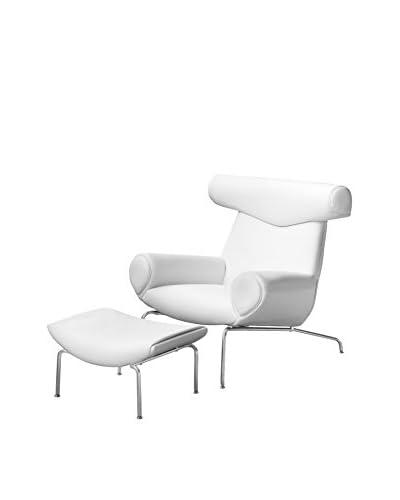 Manhattan Living Big Chair With Ottoman, White/Gunmetal