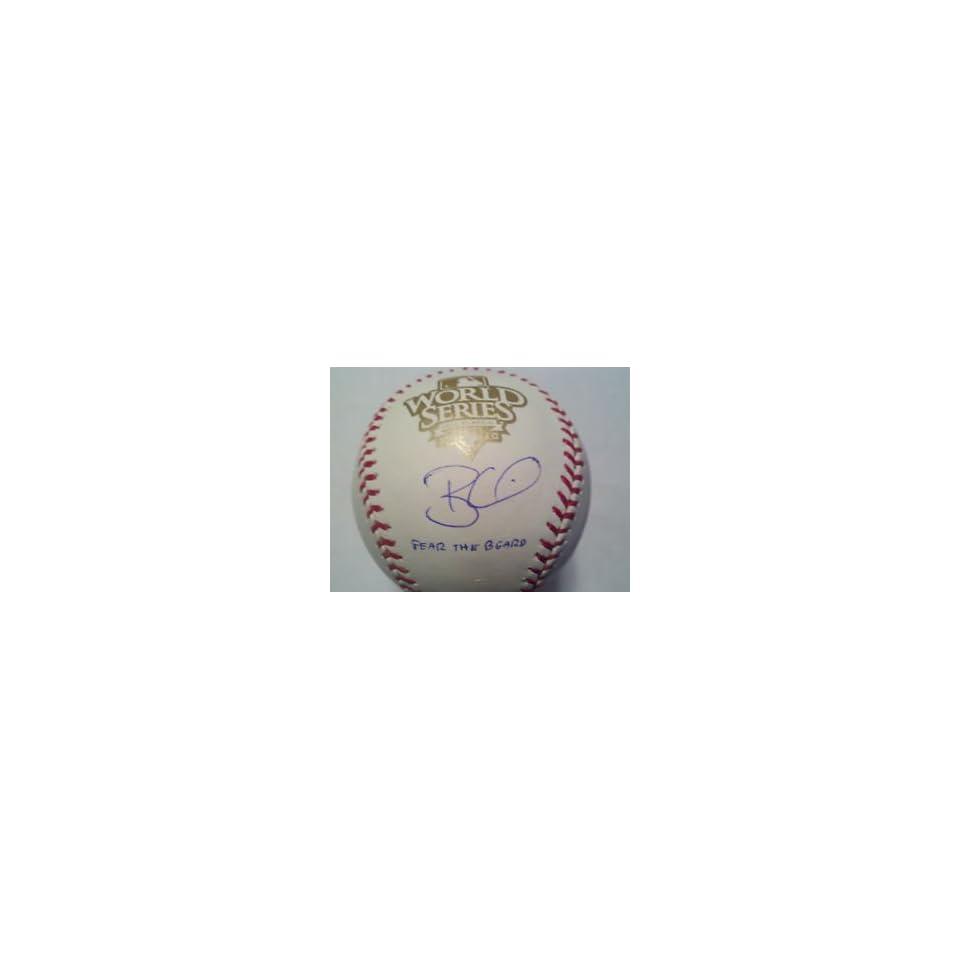 Brian Wilson Autographed 2010 World Series Baseball Fear Beard 2010