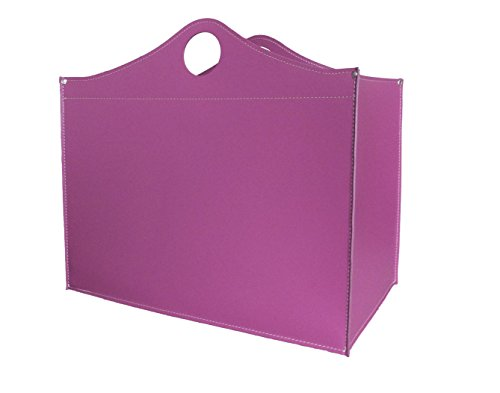 WOODBAG: borsa in cuoio portalegna e/o pellet, in cuoio rigenerato colore Ciclamino, con ruote gommate.