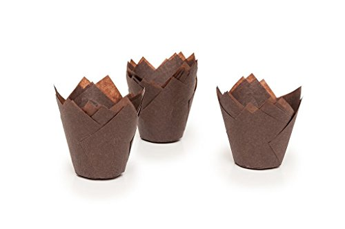 Tulip Cupcake Liner Brown Paper Baking Cups Easy Release Muffin Molds / No need To Spray Cups Perfect For Baking Muffins and Cupcakes 715050B/2 (15015050mm) , (50)Medium (Mini Muffin Bakery Boxes compare prices)