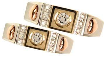 14k, Tricolor Gold, Duo Two Piece Matching Bands Ring Set