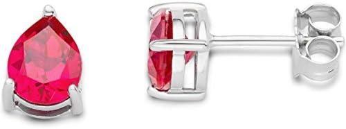Byjoy 925 Sterling Silver Teardrop Cut Ruby Stud Earrings BAE135E