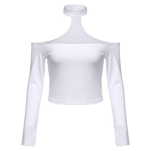 Donne Sexy Slash collo lungo manica Off spalla Hater girocollo Crop Tops White XL