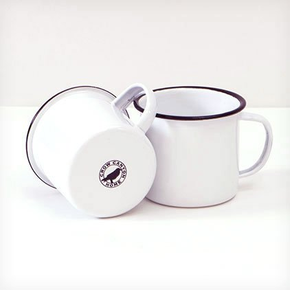 Enamelware 12 oz. Coffee Mug, Black Rim