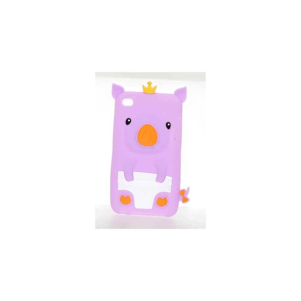 Apple Ipod Touch 4th Generation Light Purple King Pig Design Soft Silicone 3D Case plus Screen Protector   Players & Accessories