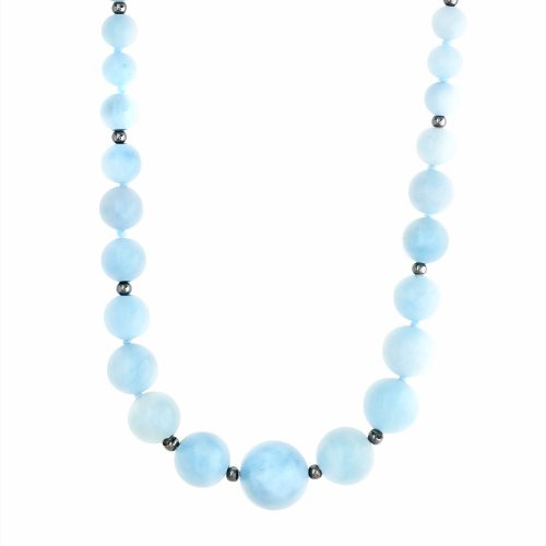 6-14mm Graduated Milky Aquamarine Necklace Accented with Sterling Silver Beads and Clasp, 18