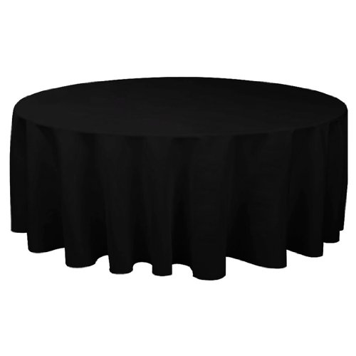 Linentablecloth Round Economy Polyester Tablecloth, 132-Inch, Black front-162543