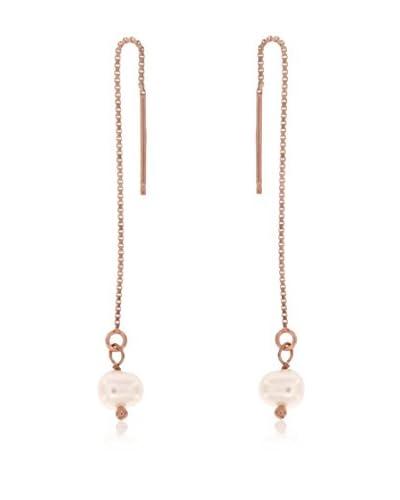 Perlaviva Pendientes Shiny Box Threader With Cultured Pearl plata de ley 925 milésimas / Perla
