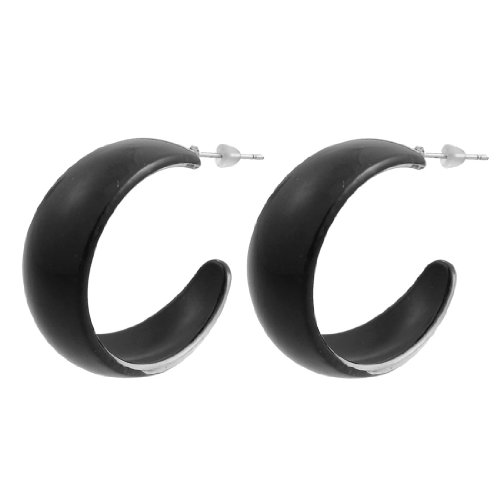 Rosallini Plastic Black Half Round Fashion Pair Earring for Ladies