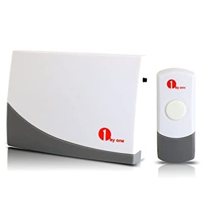 1byone® Portable Wireless Doorbell Door Chime, One Doorbell and One Push Button, with 36 Built-in Beautiful Songs, 200ft Working Distance