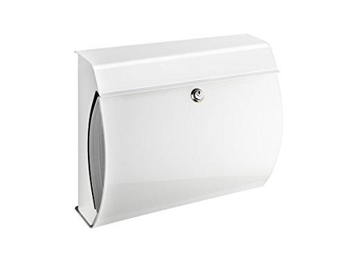 VERONA 844 Weiss, mit integriertem Zeitungsfach, inkl. Innenlicht und Öffnungsstopp, Maße: 354 x 404 x 150 mm (HxBxT), Einwurf: 335 x 30 mm (BxH), Format: DIN C4, Made in Germany