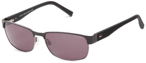 Tommy Hilfiger TH1162S Rectangular Sunglasses,Dark Ruthenium & Matte Black,58 mm
