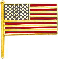 14K Gold Enameled American Flag Tie Tac Jewelry New